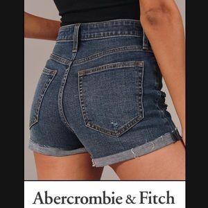 A&F High Rise Dark Wash Cuffed Shorts 6 28